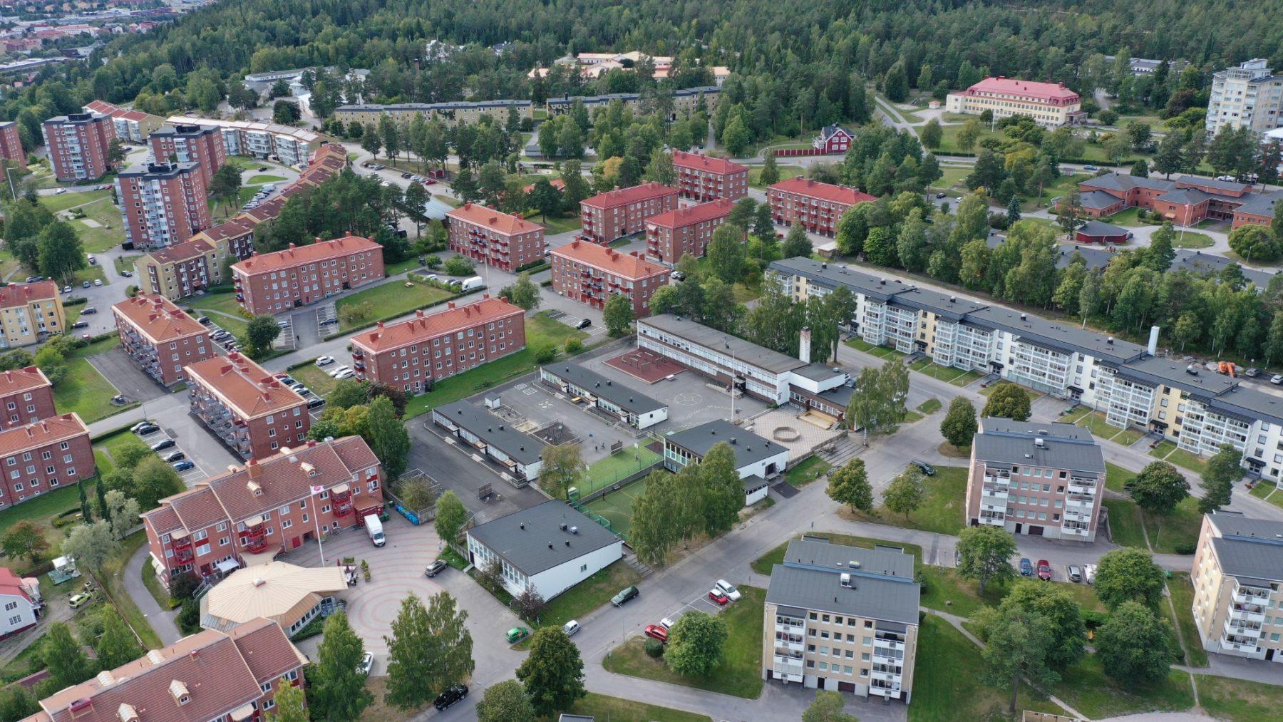 Flygfoto över Prolympia Sundsvall och närområdet